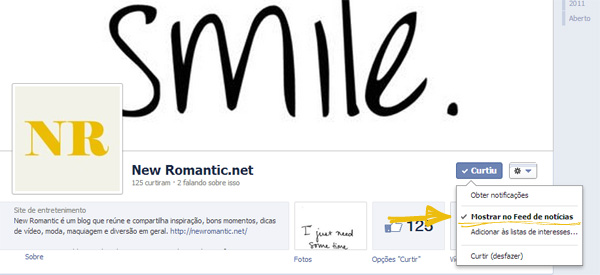 New Romantic no facebook